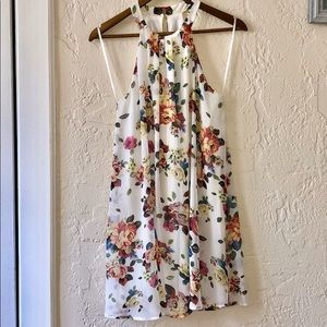 NWT One Clothing High Neck Floral Swing Dress